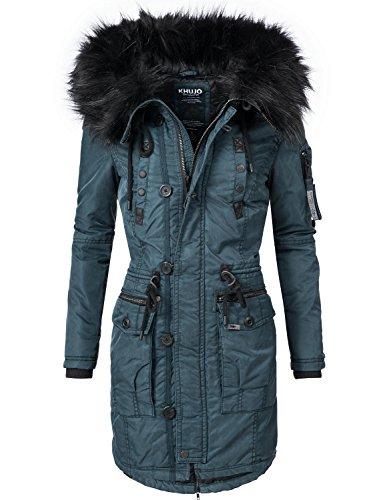 Khujo Damen Mantel Wintermantel Winterparka YM-Halle (vegan hergestellt) Blau Gr. M