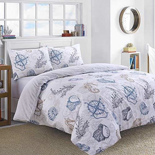 Nimsay Home Bettbezug-Set Seefahrer, 100% Baumwolle, 100% Baumwolle, Multi, Einzelbett