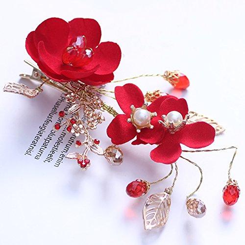 Koreanisch Braut Haarband Kleid Kopfbedeckung rot Blumen Kopf Blume Stirnband Hochzeit Zubehör Toast Kleidung Haarschmuck