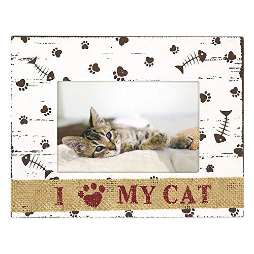 Innova I Love My Cat Foto Rahmen mit Einem Sackleinen Trim, weiß, 6X 4-Zoll -