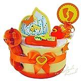 MomsStory - mini Windeltorte neutral | Geschenk zur Geburt, Taufe, Babyshower | 1 Stöckig (Orange/Gelb) | Babygeschenk für Jungen & Mädchen