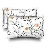 InterestPrint Weidenzweige Vogel Rotkehlchen Weiß Kissenbezug Standard Größe 20x30 Set von 2 rechteckigen Kissenbezügen Schutz für Home Couch Sofa Bettwäsche Deko