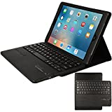 "TECHGEAR New Apple iPad 9.7"" (2017/2018) PU Leather Case with Built in Detachable Bluetooth Wireless UK QWERTY Keyboard and Stand (BLACK) - 5th & 6th Generation Apple iPad 9.7"""