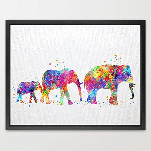 dignovel Studios Elefant Family Aquarell Illustration Art Print Wall Art Poster Home Decor Wand aufhängen Geburtstag Geschenk Motivational, im Art n003-unframed