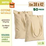 Sakge Lot de 50 sacs de shopping en coton naturel 38 x 42 cm