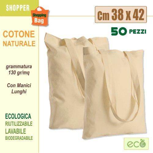 Sconto 40% per confezione da 50 pezzi - borse shopper in tessuto di cotone naturale cm 38x42