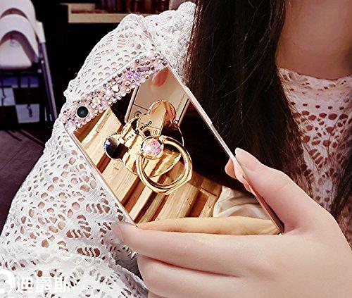 iPhone 6S Coque, Vandot Luxe Glitter Bling Diamant Etui Housse pour iPhone 6 4.7 Pouces Hull Shell avec 360 Degrés Rotation Bague Beau Fleurs Motif Rose Case Ultra Slim Souple Gel Silicone Bumper Case Style 3