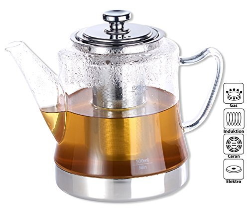 Rosenstein & Söhne Teezubereiter Glas: 2in1-Glas-Teebereiter & Teekanne für alle Herde, auch Induktion, 1,5 l (Teekanne für Induktionsherd) (Teekanne Herd)