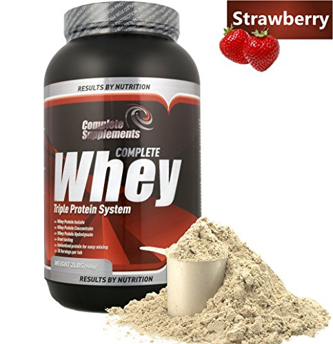 100% Triple Whey Protein Powder Premium Complete Supplements (Strawberry, 908g)