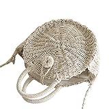 Dexinx Mujeres Portátil Redondo Simple Paja Tejida Bolso Popular del Verano de Vacaciones Respetuoso del Medio Ambiente Crossbody Bolsas Sólidos Playa del Color de Almacenamiento Beige 30*10cm