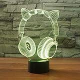 Affascinante gatto orecchio headse 3D Night cartoon luce lampada da tavolo camera da letto 3D 7 cambia colore USB lampada atmosfera interna