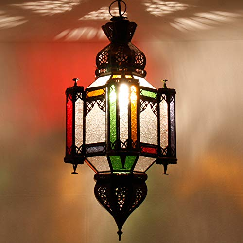 Orientalische Lampe marokkanische Hängelaterne Khalid H 60 cm Ø 26 cm aus Metall & Reliefglas | Kunsthandwerk aus Marrakesch | Prachtvolle Deckenlampe für Lichtspiele wie aus 1001 Nacht | L3002
