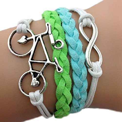 Bracciale Braccialetto infinito infinity karma Bicicletta Bici Azzurro Verde Bianco fashion