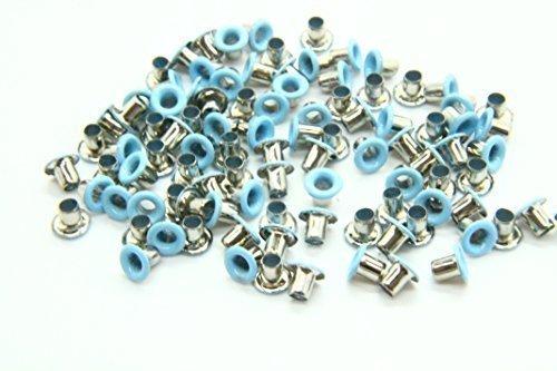 100x 3mm Ösen für Kleidung und Leder Crafts Tüllen–Für das Hinzufügen Bänder, Schnürung und Stoff in Kunst und nähprojekte–Ideal für Taschen, Scrapbooking, und Kleidung Repair, blau (Leder-tülle Blaue)