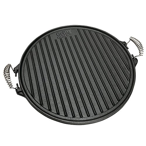Grill & more essentials piastra in ghisa per barbecue 2 in 1 - piastra rotonda reversibile di diametro 43 cm con un lato scanalato e uno liscio