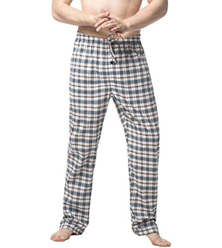 Lapasa Herren Baumwoll Pyjama M38 (S, Schwarz-Grünes Plaid) (Grüne Herren Schlaf-hose)