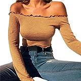 Damen Bluse Dasongff Frauen Oberteil Reizvoller kurz Tops Schulterfrei Bluse Schlank Lange Hülse Hemd Oberseiten Bluse elegant T-Shirt