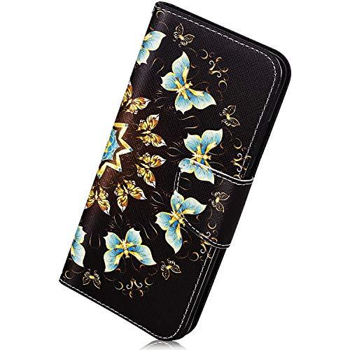 Herbests Kompatibel mit Samsung Galaxy S10 Plus Handyhülle Flip Wallet Brieftasche Hülle Leder Bookstyle Tasche Case Handytasche Hülle Ledertasche Klapphülle Kartenfächer,Blau Schmetterling