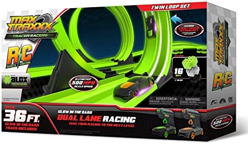 Max Traxxx Tracer Racers R/C High Speed Remote Control Twin Loop Track Set by Max Traxxx | Exquis