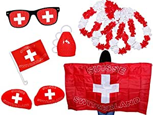 9 tlg. Alsino WM Fanpaket Schweiz FP-07 Fanartikel Fussball Fanset Flaggenumhang Caxirola Brille