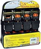 4 Pack Heavy Duty 1 inch x 15 ft Ratchet Tie Down Straps