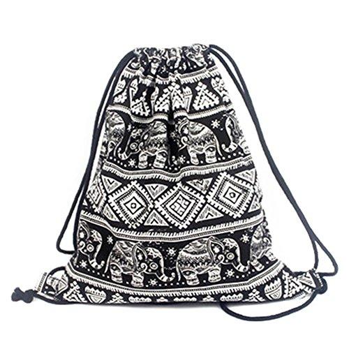 Leisial Bolso de Mujer con Cordón Lona Mochila Backpack Deporte Ocio Bolso...