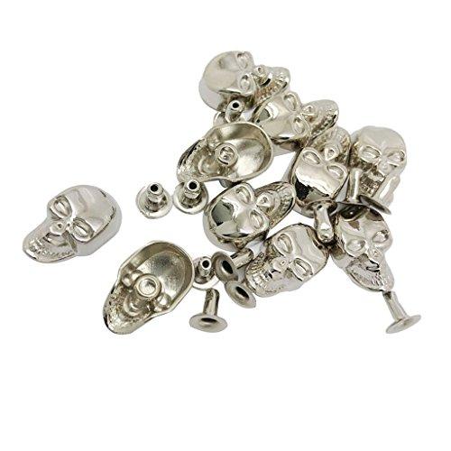 Baoblaze 10 Juegos de Roblones Remaches Reparaciones de Artesanía de Cuero Botones de Cráneo DIY