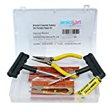 amiciKart® Complete Tubeless Tyre Puncture Repair Kit With Box (Nose Pliers + Cutter + Rubber Cement + Extra Strips)