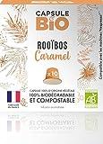 Capsule d'infusion BIO - Rooibos Caramel BIO - 10 capsules compatibles Nespresso - Capsule biodégradable, compostable- Fabriqué en France