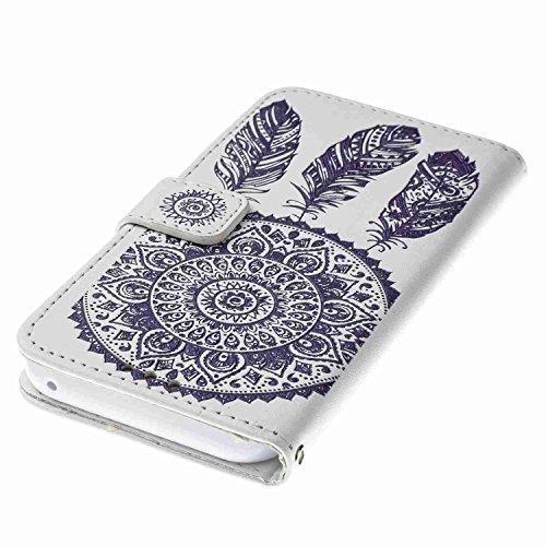 """Coque Samsung Galaxy A5 ( 2017 ), Housse Samsung Galaxy A5 ( 2017 ), Alfort Etui de Protection Ciselant Folio en PU Cuir en Haute Qualité Protection Totale pour Samsung Galaxy A5 ( 2017 ) / A520 5.2""""  Carillon Eolien Bleu ( Blanc )"""