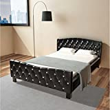 Cama de matrimonio y colchón cuero artificial 140x200 cm negra