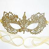 Samantha Peach Oro Maschera di Carnevale Pizzo Veneziana Ballo in Maschera da Donna - Dea