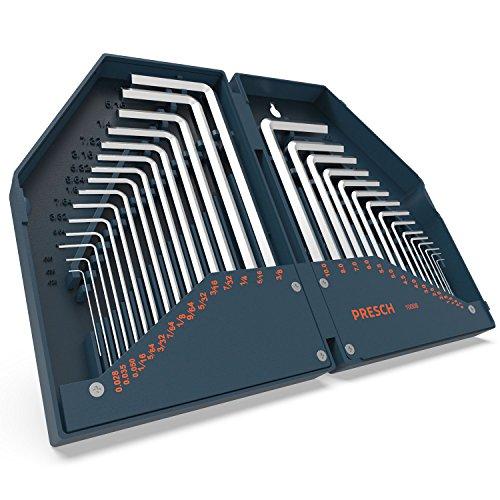 Presch Innensechskant Satz HX 30 tlg. Metrisch und Zoll - Innensechskantschlüssel Set kompakt mit Box - Sechskantschlüssel Set (Steckschlüssel 5 64)