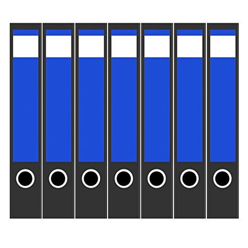 7 x Akten-Ordner Etiketten/Design Aufkleber/Rücken Sticker/mit Farbe Blau/für schmale Ordner/selbstklebend / 3,7 cm breit