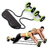 UUAVV Sports Core Double AB Roller Fitness Equipment, Idéal pour Les Hommes et Les Femmes à la Maison de Remise en Forme Coaster Pull Roda Taille Weight Device,Green