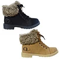 WOMENS FAUX FUR ANKLE BOOTS LADIES LACE UP COLLAR FUR LINED WINTER WARM LADIES ANKLE BOOT TRAINER SIZE 3-8