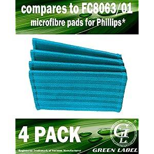 4er-Pack Mikrofaserpads für Philips Power Pro Aqua Akku-Staubsauger. (Vergleichbar mit FC8063/01). Geeignet für: FC6400, FC6401, FC6402, FC6404, FC6405, FC6408, FC6409. Original Green Label Produkt.