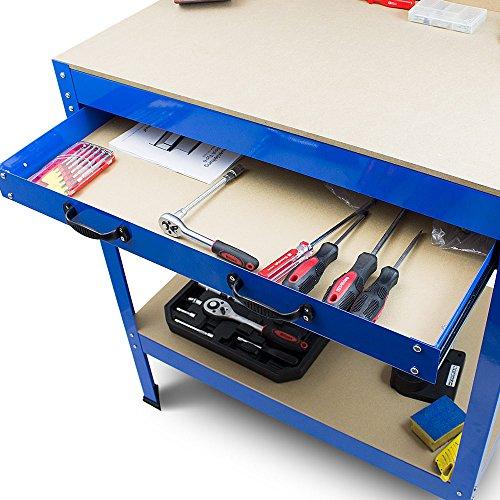 BITUXX® Werkbank Werktisch Arbeitstisch Arbeitsplatte Lochwand Schublade Werkstatt 80 x 50 x 140 cm - 5