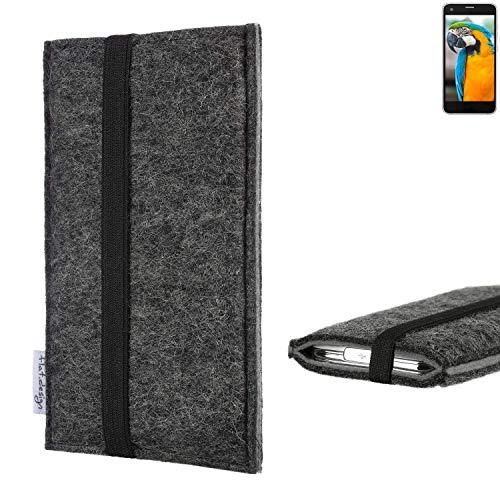 flat.design Handyhülle Lagoa für Vestel V3 5040 | Farbe: anthrazit/grau | Smartphone-Tasche aus Filz | Handy Schutzhülle| Handytasche Made in Germany