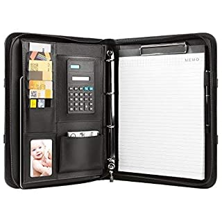 MVPOWER Conference Folder A4 Black with Clipboard, Pocket Calculatorand Pen,Benefit for your Business