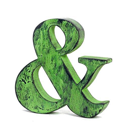 Shabby Chic & (Ampersand) Free-Standing Letra del alfabeto de madera v