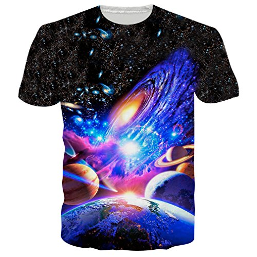 Bfustyle men's galaxy 3d solar system stampato pattern graphic t-shirt estate manica corta t-shirt casual