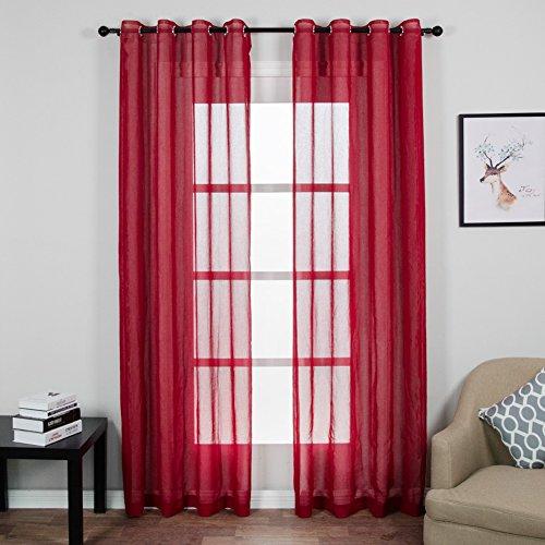 Top finel trasparenti voile tende per case cameretta tenda con occhielli,140x245 cm,2 pezzi,rosso