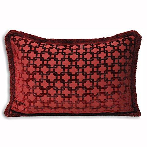 Paoletti - Housse de coussin rectangulaire Belmont - jacquard chenille - rouge bordeaux - 40 x 60 cm