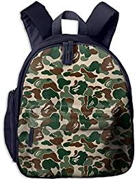 Lovely Schoolbag Bape Ape Camo Green Double Zipper Waterproof Children Schoolbag with Front Pockets For Youth
