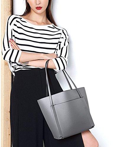 Donna Semplicemente Tote Bag Borse A Mano Borse A Tracolla Handbag Shoulder Bag Della Borsa 2 Pezzi Grigio chiaro