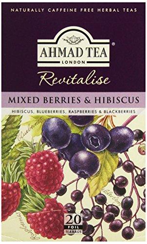 Ahmad Tea - Mixed Berries and Hibiscus | Früchtetee mit Beerengeschmack | 20 Teebeutel á 2 g mit Band Berry Band