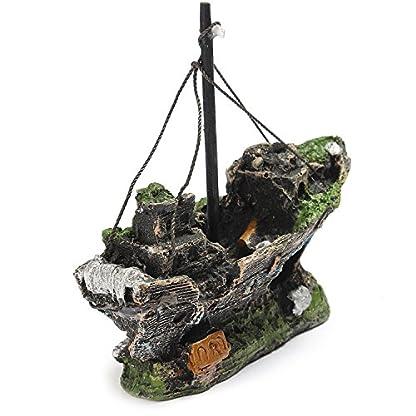 Lifelike Resin Pirate Ship Sailing Boat Sunk Corsair Ship Shipwreck for Aquarium Fish Tank Decoration 2