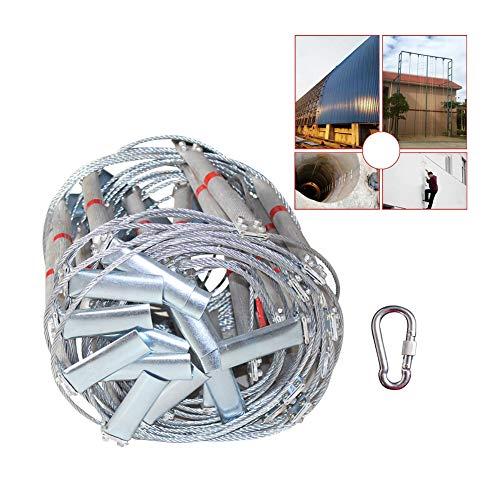 FIREDUXYL Notleiter Aluminium Fluchtleiter, rutschfeste, Wiederverwendbare Evakuierungsleiter, feuerfeste Treppe, schnelle und einfache Installation,30m