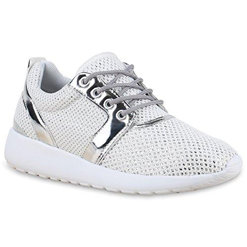 Damen Sportschuhe | Neon Laufschuhe | Runners Sneakers | Fitness Schnürer | Prints Blumen | Übergrößen Weiss Lack Brooklyn